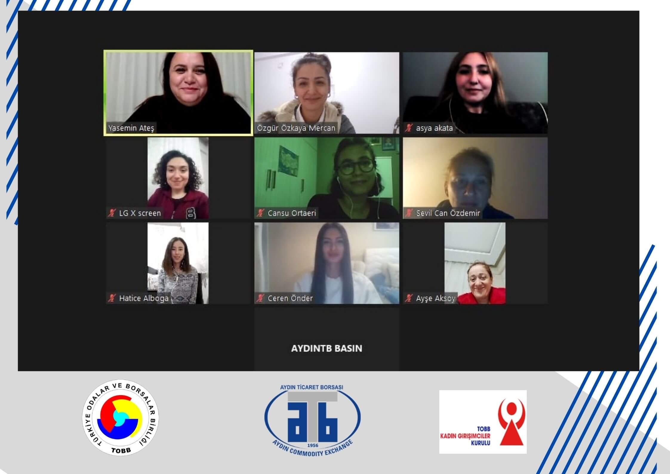 20.04.2021 TOBB Aydın Kadın Girişimciler Kurulu, Çevrimiçi KGK Sertifikalı Eğiticinin Eğitimi Programını Gerçekleştirdi